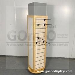 4-Sided extraíble y giratoria de madera y acrílico de estante de la pantalla de gafas de sol con espejo y soportes
