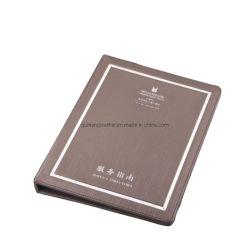 Cuoio beige dell'unità di elaborazione del Guestroom del dispositivo di piegatura di informazioni dell'ospite con il piatto dell'acciaio inossidabile