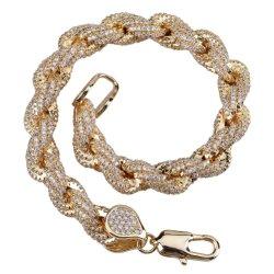 Juwelen van de Armband van de Keten van de Link van Bling Bling Hip Hop van de Juwelen van mensen de Gouden Cubaanse
