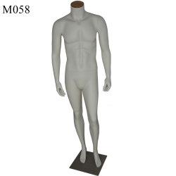 Pantalla de cristal mate blanco macho sin cabeza de maniquí para la tienda de ropa