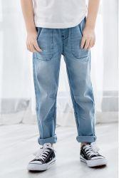 Imprimé de vêtements pour enfants Light Blue Jeans Denim de garçons d'usure avec le milieu de montée