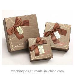 호화스러운 브라운 뚜껑과 기본 상자 리본 저장 팩 상자 브라운 포장지 상자