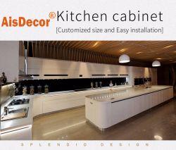 Modular MDF moderno Alto Madeira verniz brilhante personalizado de armários de cozinha