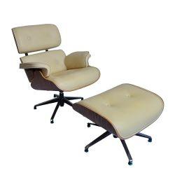 Salón de la chapa de nogal silla de cuero Fauteuil Lounge