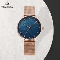 Or Rose mop/mère Pearl Dial Lady Montre bracelet en acier inoxydable étanche femmes montre-bracelet de luxe (71397)