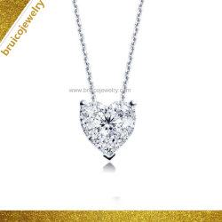 Monili Pendant della collana di modo dei monili del cuore del diamante dell'oro su ordinazione dell'argento