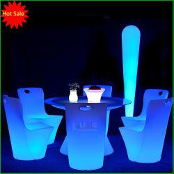 Table de dîner avec des voyants LED de meubles de changement de couleur