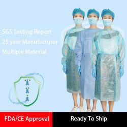 PP 짠것이 아닌 처분할 수 있는 의학 격리 가운을 발송하게 준비되어 있는 SGS 제조자
