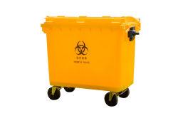 Ziekenhuis kunststof vuilnisbakken met wielen en Pedaal