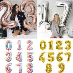 Tamanho grande Fractius Ouro aumentou o número de ouro decorações casamento festa de aniversário do balão Foil Balões Kid Boy Toy Chuveiro de bebé