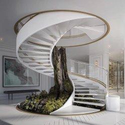 Escalera de mármol con fines comerciales de lujo / escalera curvada con luz LED