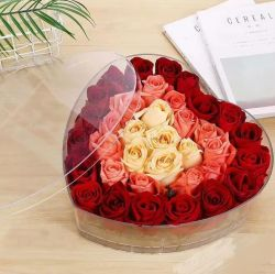 주문 색깔 투명한 플렉시 유리 호화스러운 선물 플라스틱 심혼 모양 아크릴 로즈 꽃 상자