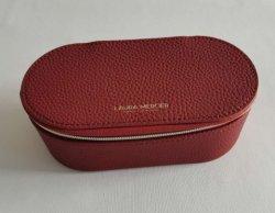 女性化粧箱赤い革ジッパーの収納箱