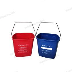 위생 청소 2 리터 금속 손잡이를 가진 제정성 플라스틱 들통 물통