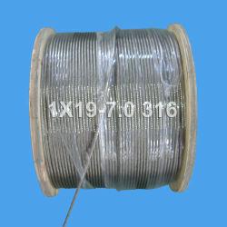 高く上がり、持ち上がることのためのステンレス鋼ワイヤーロープ(1X19-7.0)