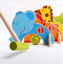 La familia de madera de dibujos animados juego de niños juegos Parent-Child Gateball Juguetes