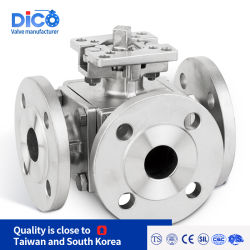 Dico DIN marca JIS ANSI 10K 3 vía puerto lleno de brida Válvula de bola con la norma ISO 5211 Placa de fijación