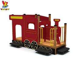 Giocattoli variopinti dei bambini del treno del parco di divertimenti di tema di Wandeplay della strumentazione esterna di legno del campo da giuoco