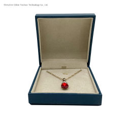 Logotipo personalizado Velvet insertar pequeñas joyas de concha azul Caja de Regalo de Caja para Collar