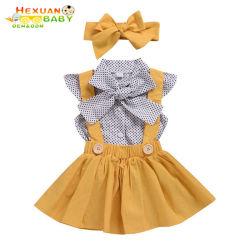 소녀는 세트를 2020명 여름 점 비행 소매 상단 결박 복장 머리띠 3명 피스 아이 아이들의 의류 한 벌 입는다