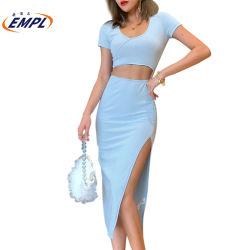 Corte de cintura muslo vestido de hendidura.