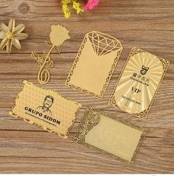 사용자 정의 블랭크 RFID 자기 띠 스마트 ID 호텔 키 플라스틱 PVC Transparent Paper Gold GSM VIP Loyalty Membership 할인 메탈 공예 선물 명함