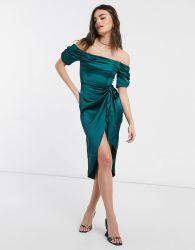 [روش] إندفاع لندن [بردوت] [ميدي] ثوب مثير مع فخذ شقّ ولفاف رابط وسط في زمردة اللون الأخضر