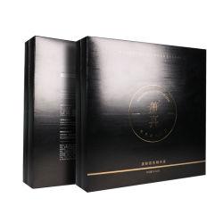 Schwarzer bereifter silbernes Papier-Geschenk-Kasten-Kappen-und Unterseiten-Geschenk-Mattkasten mit EVA-Schaumgummi-Einlage für Duftstoff für kosmetische Prüfvorrichtung