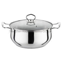 誘導のガラスふたが付いている最下の調理の鍋のステンレス鋼のカセロールの鍋の調理器具