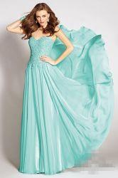 Mousseline de soie bleu Party Celebrity robe formelle de la pure corsage robes de bal d'une ligne robe de soirée