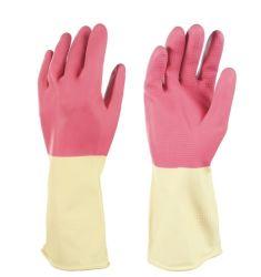 L'huile de rose femelle résistant aux produits chimiques industriels ménage Flocklined Protection des mains Gants de caoutchouc latex lavage nettoyer
