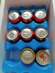 علبة البيرة بالثلج لعلبة الغداء مزدوجة من قطعتين يحافظ المبرد القابل لإعادة الاستخدام على برودة من 6 إلى 12 علبة صودا -- صلبة أزرق