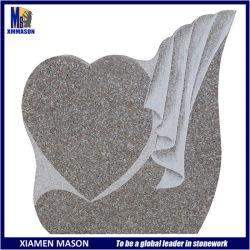 De estilo europeo en forma de corazón único cementerio de Granito Rosa losa monumento grave con el bajo precio