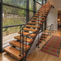 Escalera Recta de Madera para la Casa de Diseño Interior Escaleras de Madera de Stringer Mono