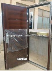 Brown couleur bois porte d'entrée de la sécurité de l'acier Appartement Portes W-S-181