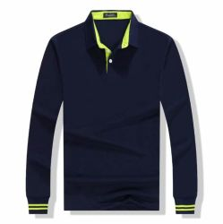 Camicia di polo multicolore del ricamo del nuovo di modo degli uomini manicotto lungo di disegno