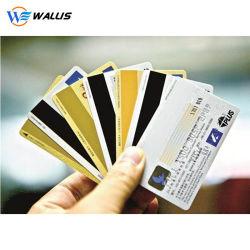オフセット印刷PVC/PC/Petのプラスチック製品Cr80 85.6*54mm IDのデュアルインターフェイスRFID IDのスマートカードか二重側面の印刷できるインクジェットMagの縞のブランクバンクICチップカード