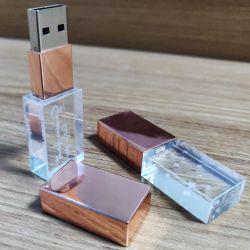 محرك أقراص Crystal/Glass USB2.0/3.0 Flash Memory Stick 1GB-32GB Thumbdrive مع نظام مخصص الشعار