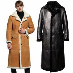 Los hombres invierno Longc OEM Extra 130cm pelaje Shearling Sheepskin Real