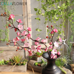 Künstliche Blumen-lange Stamm-Pfirsich-Kirschpflaume-Blüten-Zweig-Seide-Blume