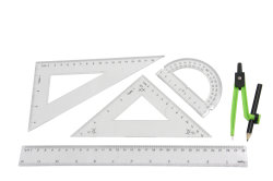 30cm PS de Heerser van de Meetkunde met het Plastic Kompas van het Potlood voor School en Bureau wordt geplaatst dat