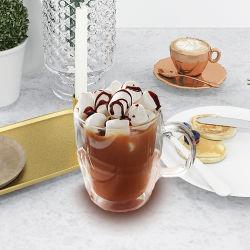 高品質の80-600mlによって絶縁される卸しでカスタマイズされた二重壁のガラスコーヒー茶ビールガラスのコップ