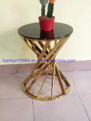 ステンレス鋼の緩和されたガラスのコーヒーテーブルの現代結婚披露宴の家具の側面表