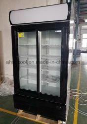 1000L affichage de portes coulissantes en verre réfrigérateur sans givre de dégivrage automatique
