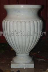 Feiner Kunstfertigkeit-Garten-dekorativer Stein-Blumen-Potenziometer-weißer Marmorpflanzer für Verkauf (QFP145)