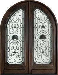 Kundenspezifische Entwurfs-Eichen-festes Holz-Eingangs-doppelte Tür mit Glaseisen-Rasterfeld