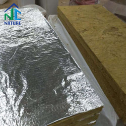 Fire-Proof de alta calidad de materiales de construcción de lana de roca, losa de aislamiento de lana de roca, lana de roca se siente con papel de aluminio, de la marca de la naturaleza Zibo 100 120 140 160 Kg/m3.