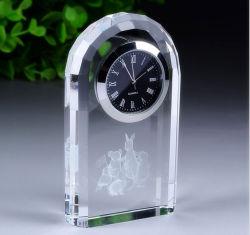 Logo personnalisé cadeau d'affaires de l'horloge de cristaux de décoration