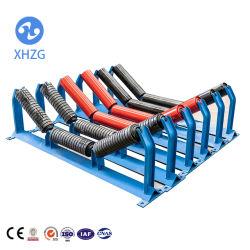 El rodillo tensor de acero de transportador de correa con el soporte