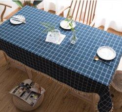 시골의 인 블루 자수 직사각형 리넨 테이블 천